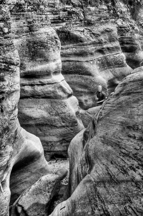 Hydro Sculptured Canyon, with Aaron - B&W HDR