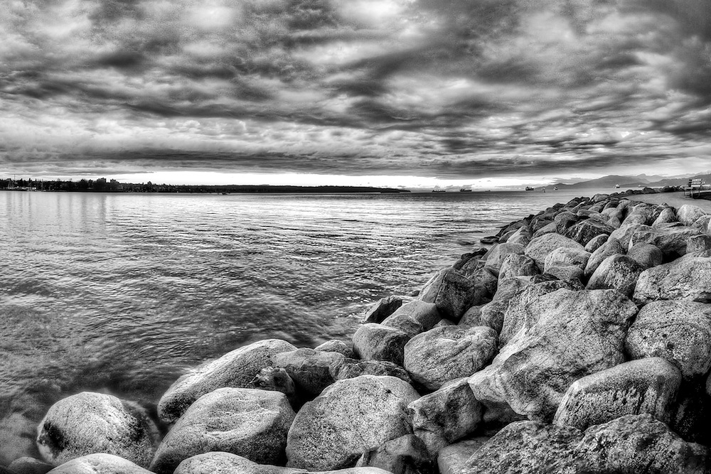 Rocky Seascape - Black & White HDR