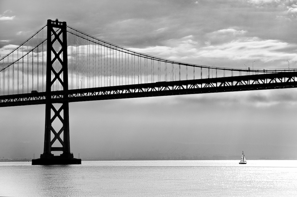 Bay Bridge Sailboat Silhouette - San Francisco, CA