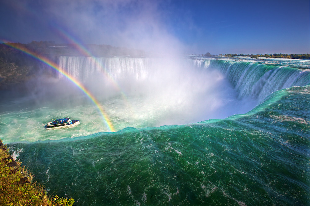 Double Rainbows on the Edge of Horseshoe Falls at Niagara Falls