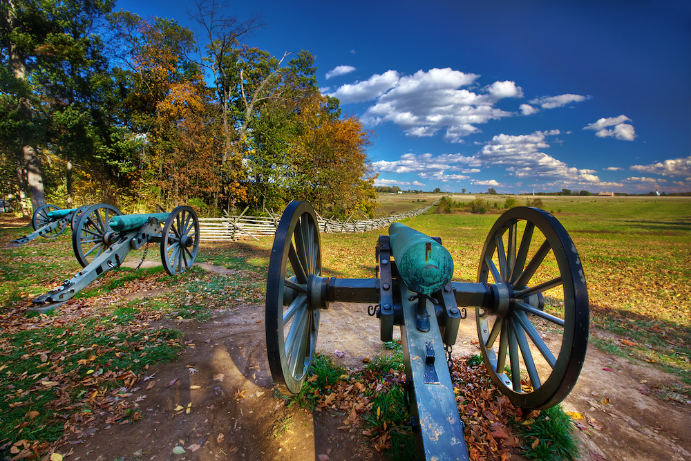 Civil War Cannons on Seminary Ridge, beginning of Pickett's Charge - Gettysburg