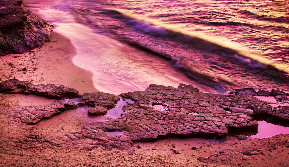 Purple Afterglow: Flat Rocks on the Beach - Sunset Cliffs, Point Loma