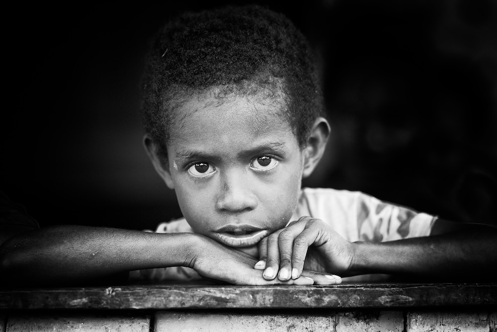 Portrait of a Papuan Boy - Black & White