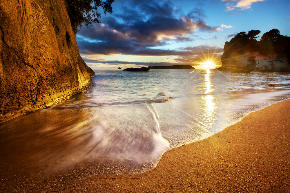 Cathedral Cove Beach Sunrise Starburst - New Zealand