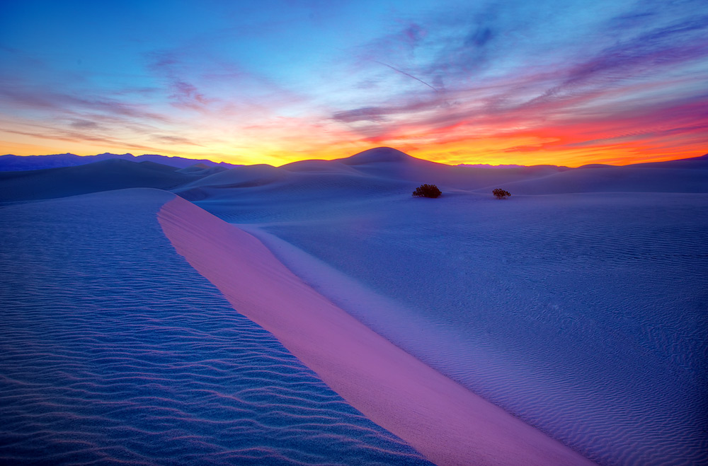 Painted Sand: Pre-Dawn Colors on Mesquite Dunes, Death Valley
