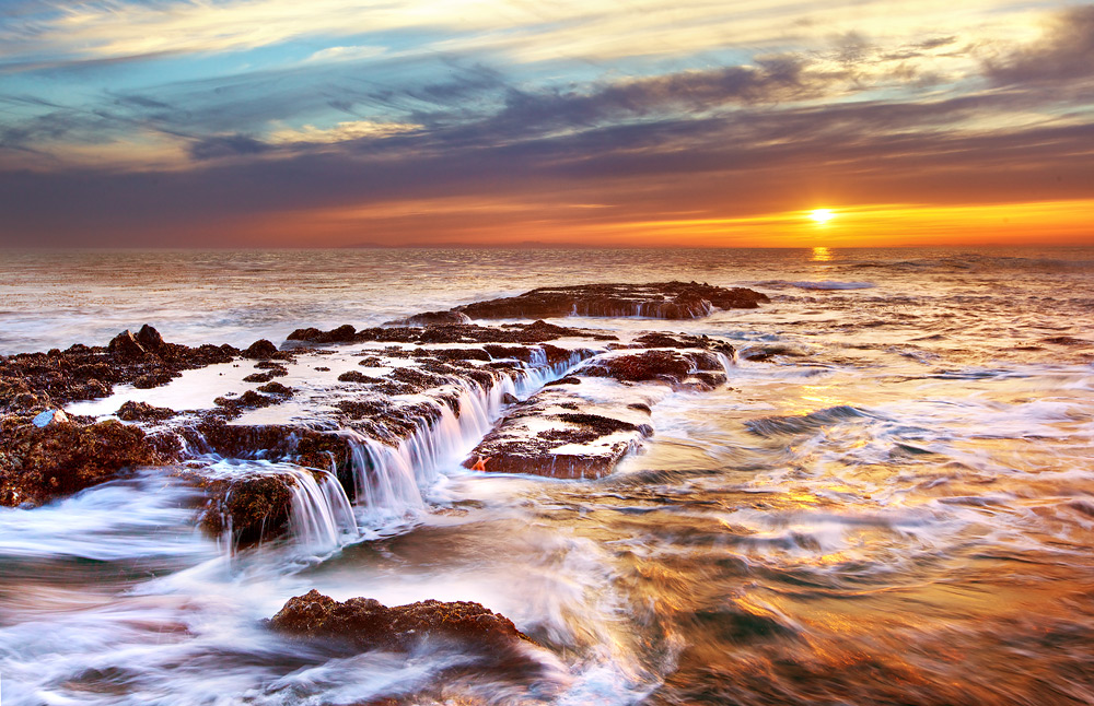 Laguna Beach Waterfall Seascape at Sunset