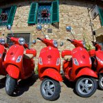 Army of Red Vespas - Tuscany, Italy