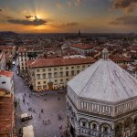 Piazza Del Duomo at Sunset with Baptistry: Florence, Italy