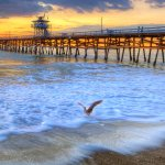 Taking Off - San Clemente Pier at Sunset