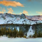 Frozen Twin Lakes with Crystal Crag above - Mammoth Winter HDR Panorama